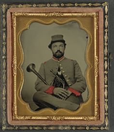 (c. 1861-1865) Soldier in Confederate uniform with saxhorn