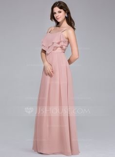 Empire Sweetheart Floor-Length Cascading Ruffles Zipper Up Spaghetti Straps Sleeveless Other Colors Fall General Plus Chiffon Bridesmaid Dress
