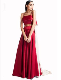 1a5fd89cd98 Red Satin crop top and skirt Satin Crop Top