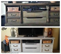 Our first time using chalk paint on a piece of furniture. We think it turned out pretty great. This was a thrift store dresser turned into a tv console. Find out more about this DIY project on the blog