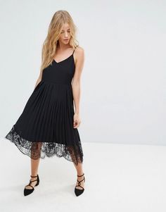 Vila Pleated Lace Cami Dress - Black