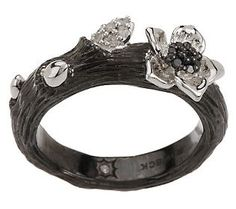 Dweck Diamonds 1/10 cttw Sterling Black Floral Branch Stack Ring