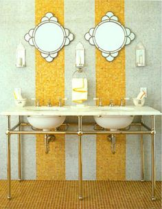 Mirrors in bathroom against yellow bands by Aiyah