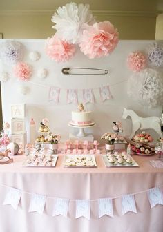 Pink Rocking Horse girl baby shower dessert table