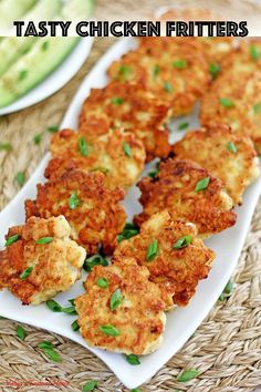 Meet the chicken nugget's fancy cousin! These tasty things are literally one of the easiest things you can ever make and taste so fantastic. Crisp on the outside, soft and juicy on the inside with a little hint of garlic, will instantly make you a fan. Oh, how scrumptious they are! #tastychickenfritters #chickenfritters #valyastasteofhome | www.valyastasteofhome.com Top Recipes, Turkey Recipes, Great Recipes, Chicken Recipes, Cooking Recipes, Favorite Recipes, Healthy Recipes, Chicken Fritters Recipe, Easy Recipes