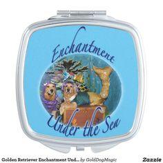 Golden Retriever Enchantment Under the Sea Makeup Mirror
