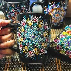 Have a nice day Mandala cup by For order - send DM to Mandala Art, Mandala Rocks, Mandala Painting, Mandala Design, Dot Art Painting, Pottery Painting, Stone Painting, Painted Mugs, Painted Rocks
