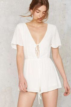 Ride or Tie Plunging Romper - Rompers + Jumpsuits | Sale: Newly Added | Sale: 20% Off | Summer Whites