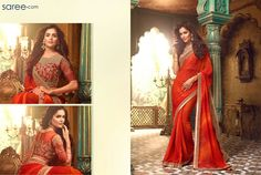 A magnificent bridesmaids saree, this one's bright, perky, fluid and pocket friendly. The form flattering fabric will suit all body types, and the glamorous styling will be a great add-on to the entire wedding aura. Vibrant saffron orange saree with shaded details is accentuated with a stunning gold border and broad embroidery details on pallu. The splendid orange blouse with sheer back and gold embroidery is to-die-for!