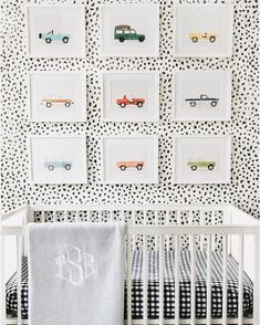So cute for a little boy. Also loving the accent wall.