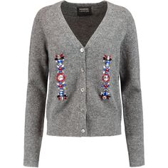 Markus Lupfer Crystal-embellished knitted cardigan ($205) ❤ liked on Polyvore featuring tops, cardigans, anthracite, marled cardigan, loose fit tops, markus lupfer top, markus lupfer and loose tops