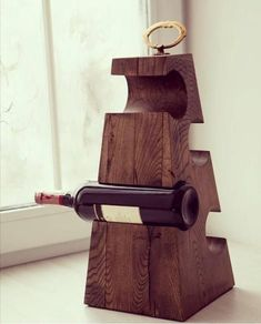 Made of oak wine holder may be a perfect gift fitting any space #winerack