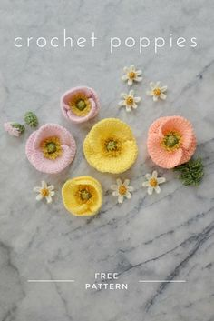 Crochet Puff Flower FREE crochet Iceland poppy pattern - make a bunch of realistic crochet poppies for a Mother's Day bouquet or a Spring flower crown Crochet Puff Flower, Crochet Flower Patterns, Crochet Flowers, Knitting Patterns, Crochet Bouquet, Pattern Flower, Cat Pattern, Free Knitting, Crochet Ideas