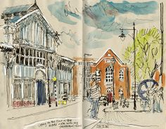 Sketching through the window at MOSI: watercolour, pen and ink, white chalk. Lynne Chapman - An Illustrator's Life For Me!
