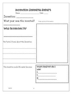 This is a full lesson plan for third-fifth grade students on an inventors/inventions unit!  LP Includes:   2-3 Days of Content  CCSS - Literacy Incorporation  Relevant/Grade Level Social Studies Standards  Objectives   Assessment  Suggested Materials  Read Aloud/Literature Connection  Dialogue  Guided Practice   Creative Activity  Math Extension   Differentiation  Rubric  Research Report Recording Sheet (8x11 Size, or take to a Staples to Print Larger for poster size).