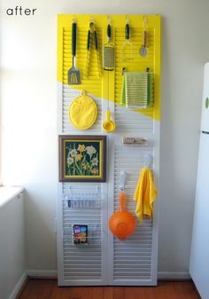 shutters repurposed as a kitchen organizer