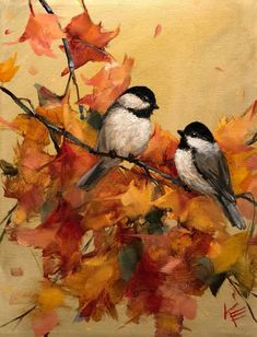 Excited to share this item from my shop chickadee fall leaves by Krista Eaton original art 11 bird birds decorative oil painting original Bird Paintings On Canvas, Small Paintings, Watercolor Paintings, Art Oil Paintings, Watercolor Artists, Oil Painting On Canvas, Autumn Painting, Autumn Art, Autumn Leaves