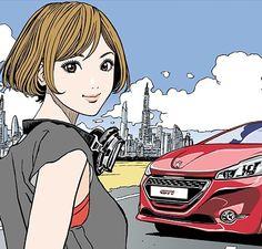 プジョー『208GTi』とコラボ Art And Illustration, Illustrations And Posters, Manga Anime, Anime Art, Cute Girl Drawing, Comic Kunst, Girl Cartoon, Erotic Art, Japanese Art