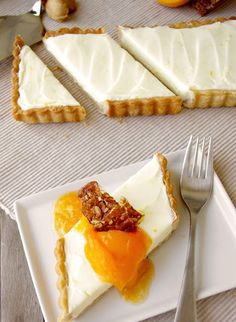 Honey Mascarpone Tart with Almond Crust, Apricot Compote, and Almond Glass
