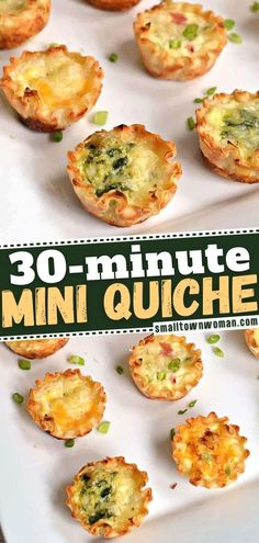 Entertaining season is here! This delectable Mini Quiche is a cinch to make, thanks to pre-cooked fillo shells. Baked with an assortment of vegetables, meat, and cheeses that you have on hand, this easy New Year party appetizer is the perfect finger food! Save this pin! Brunch Recipes, Appetizer Recipes, Breakfast Recipes, Brunch Ideas, Mini Breakfast Quiche, Mini Quiche Recipes, Appetizers For Party, Healthy Appetizers, Easy Party Food