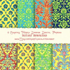 Country French Damask Digital Scrapbook Paper Pack Printable Instant Download Background Papers Collage Sheet. $2.99, via Etsy.
