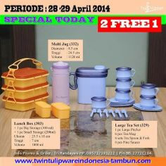 Promo 2 Free 1 #TwinTulipware 28-29 April 2014; Lunch Box, Large Tea Set, Multi Jug