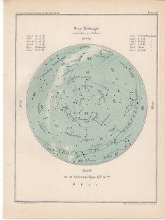 1910 may month rare celestial star map original antique astronomy print lithograph X gemini taurus