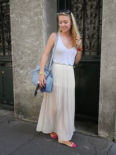 Shop this look for $118:  http://lookastic.com/women/looks/grey-tank-and-light-blue-tote-bag-and-beige-maxi-skirt-and-neon-pink-ballerina-shoes/3587  — Grey Tank  — Light Blue Leather Tote Bag  — Beige Pleated Chiffon Maxi Skirt  — Neon Pink Leather Ballerina Shoes