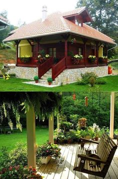 Village House Design, Village Houses, Cottages And Bungalows, Cabins And Cottages, Beautiful Gardens, Beautiful Homes, House Wrap Around Porch, Philippines House Design, Philippine Houses