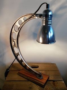 Up-Cycled Adjustable Industrial/Steampunk/Aviator Style Table/Desk/Spot Lamp