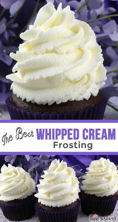 The Best Whipped Cream Frosting - light and airy and delicious and it tastes just like Whipped Cream. But unlike regular Whipping Cream, this frosting holds its shape, lasts for days and can be used to frost both cake and And it is so easy to ma Whipped Cream Icing, Homemade Whipped Cream, Whipped Buttercream Frosting, Whipped Cream Recipes, Whipped Topping, Food Cakes, Cupcake Cakes, Easy Cupcake Frosting, Frosting Recipe For Cake