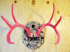Buck horns, Painted Deer Antler, Deer mount, Pink Antler Art, OOAK mosaic, jewelry wall hook