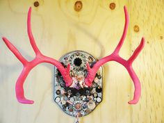Buck horns, Painted Deer Antler, Deer  mount,  Pink Antler Art, OOAK  mosaic, jewelry  wall hook