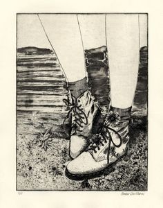 Boots: Etching by Amber Del Moral