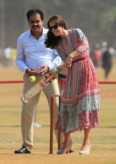 """Running in Heels - In a dress by Indian designer Anita Dongre, Kate slayed during a cricket game in Mumbai. """"She batted, she fielded, she did everything!"""" said the legendary Indian cricket player Sachin Tendulkar. Is there anything she can't do?"""