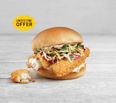 Cod Burger. The catch of the season is back. Made with sustainably-sourced, hand-cut strips of cod, crisp coleslaw and tangy tartar sauce, our Wild-Caught Cod Burger is one tasty catch. It's only around for a limited time, so grab one while you can. A&w Restaurants, Tartar Sauce, Fast Food Restaurant, Coleslaw, Root Beer, Salmon Burgers, Cod, Crisp, Menu