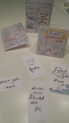 Erste Versuche mit Stempeln,  Ink Dekor Farben und Wassertankpinseln von GONIS (Ideen bei Pinterest gefunden) Cards Against Humanity, Stamping, Colors, Ideas