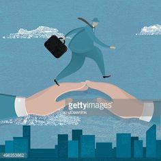 Vector Art : Business man walking over two bridged hands
