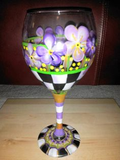 Hand Painted Wine Glasses  Black/White Check by krystasinthepointe