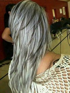hair highlights long Omg, love this! May have to do this when my hair gets longer. Omg, love this! May have to do this when my hair gets longer. Gray Hair Highlights, Platinum Highlights, Hair Gloss, Covering Gray Hair, Transition To Gray Hair, Silver Grey Hair, Brown To Grey Hair, Silver Hair Colors, Black Hair