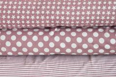 pepelinchen - Jersey Sterne und Punkte altrosa/wei� Bed Pillows, Pillow Cases, Dusty Pink, Dots, Stars