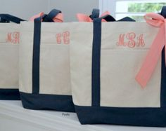 Set of 3 Personalized Wedding Bridesmaids Tote Gifts in Navy