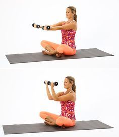 A lot of times we do a full rotation for our biceps. Instead of taking the exercise all the way, this exercise stops when your arms make a right angle. Sit cross-legged on the floor and, holding your weights, extend your arms straight in front of you with your palms up. Slowly pull your arms up into a right angle. Release them back into the starting position, and repeat for 10 counts. Do three sets of 10. Source: POPSUGAR Studios