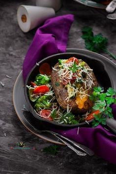 Veggie Stuffed Potatoes Recipe (Baked) - Binjal's VEG Kitchen