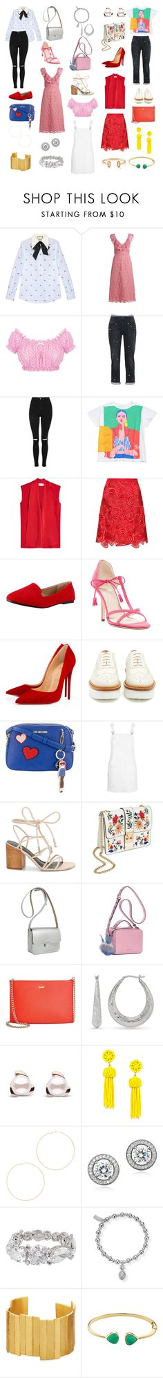 """Hearts"" by kathrina1yana2jemma3cloe4 ❤ liked on Polyvore featuring Gucci, Miu Miu, STELLA McCARTNEY, Topshop, Victoria Beckham, Christopher Kane, Frances Valentine, Christian Louboutin, Tod's and Love Moschino"