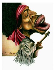 Jimi Hendrix Funny Caricatures, Celebrity Caricatures, Rock And Roll Artists, Jimi Hendrix Woodstock, Great Works Of Art, Rock Legends, Humor, Funny Faces, Black Art