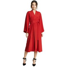 Adam Lippes Kimono Dress with Belt ($1,660) ❤ liked on Polyvore featuring dresses, firecracker, red dresses, v neck wrap dress, long-sleeve midi dresses, wrap skirts and red long sleeve dress