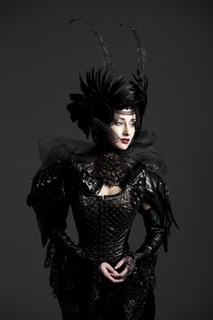 Dramatic feather headpiece with beading