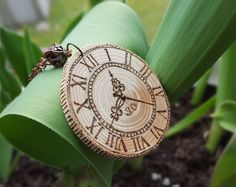 Wood burned slice pendant necklace Wooden pyrography vintage style clock pendant Handmade antique clock face pendant necklace by SorrisoDesign on Etsy
