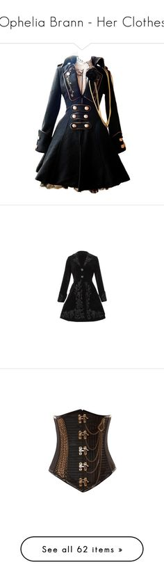 """""""Ophelia Brann - Her Clothes"""" by hecate-supreme ❤ liked on Polyvore featuring dresses, jackets, coats, steampunk, outerwear, goth coat, dress coat, gothic velvet coat, victorian coat and velvet coat"""